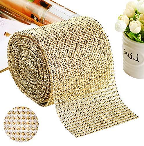 Mikash 10 Yards 24 Rows Rhinestones Acrylic Crystal Diamond Ribbon, for Wedding Ribbon, Cake Ribbon, Vase tions, Party Tion (Gold) | | Model WDDNG - 1288