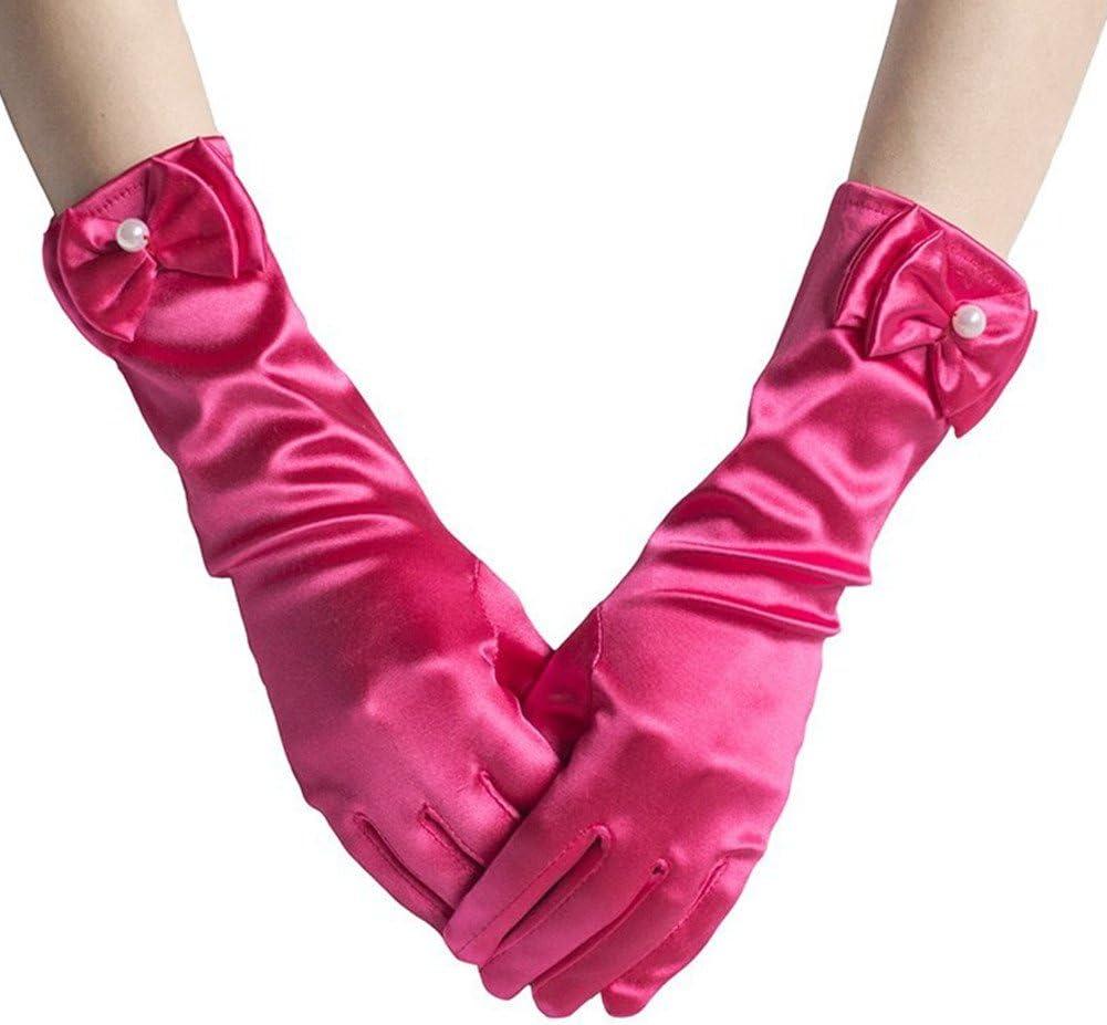 L-Peach M/ädchen Kinder Satin Lange Abendhandschuhe Handschuhe Brautjungfer Festzug Abschlussball Halloween Party Karneval Cosplay 3-15 Jahre