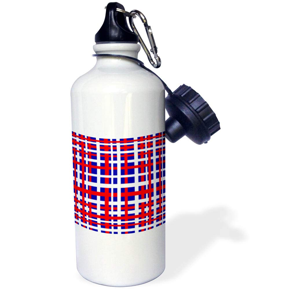 3dRose BlakCircleGirl - Holiday - Patriotic Plaid - Fun and bold striped design in red white and blue weave - 21 oz Sports Water Bottle (wb_286908_1)