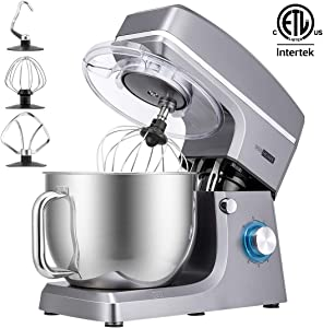 VIVOHOME 7.5 Quart Stand Mixer, 660W 6-Speed Tilt-Head Kitchen Electric Food Mixer with Beater, Dough Hook and Wire Whip, ETL Listed, Silver
