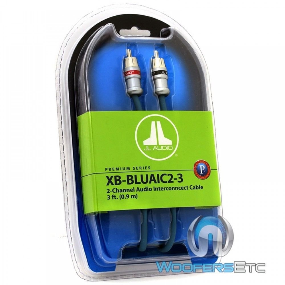 JL Audio XB-BLUAIC2-3 2-Channel Twisted-Pair Audio Interconnect Cable with Machined Connectors, 3-Feet