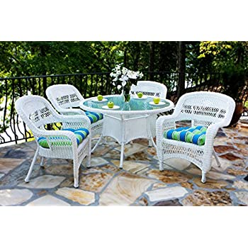Portside 5 Piece Outdoor Wicker Dining Set, Coastal White Wicker, Custom  Sunbrella Cushion Fabric