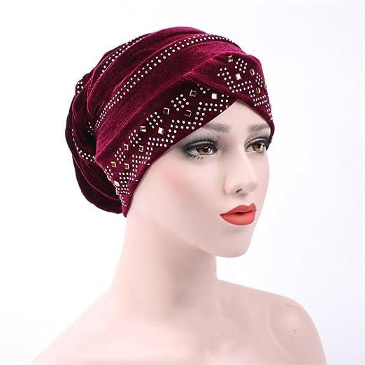 Racheljp Chemo Hats Cancer Headwear Women Velvet Bling Turban Beanie ... 3dc7f9cd3113