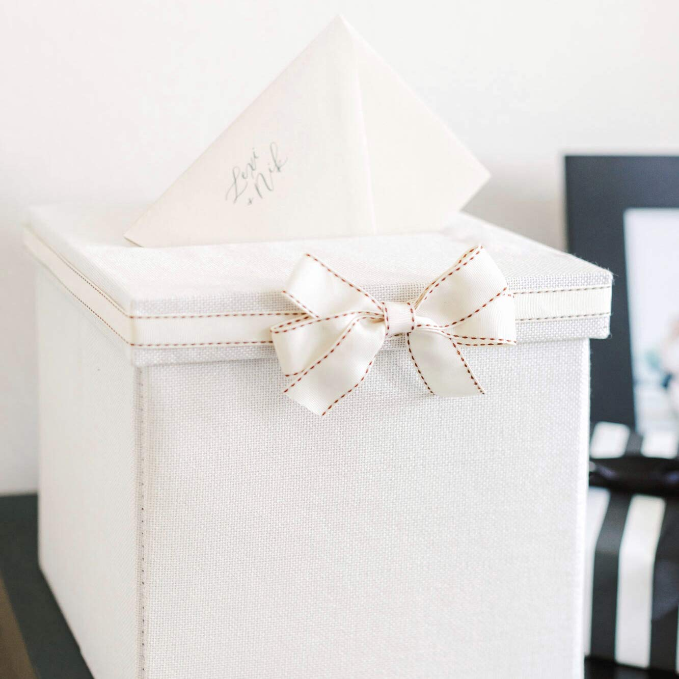 FLUYTCO Wedding Card Envelope Box - Linen Fabric /& Removable Ribbon ...