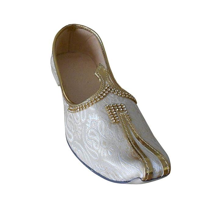 kalra Creations Hombre tradicional indio seda zapatos de novio, color crema, talla 39.5 EU