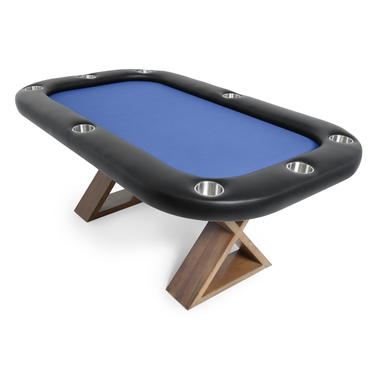 BBO Poker Helmsley Poker Table for 8 Players with Blue Felt Playing Surface, 72 x 46-Inch, Includes Matching Dining Top by BBO Poker