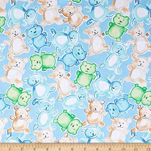 Cutie Pies & Lullabies Bears Blue Fabric