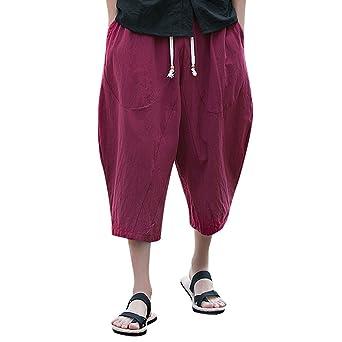 3a58d4c9bdc9e Moonuy Pantalon Sport décontracté pour Homme Coton et Lin Longueur 3/4  Pantalon avec Poches