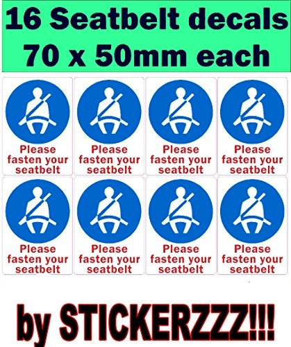 (Stickerzzz!!! 32-PMD3-E0QV 16 X Please Fasten Your Seat Belt Sign Vinyl Car Bus Coach Van Sticker Decal)