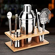 Eachbid Stainless Steel Cocktail Shaker Mixer Drink Bartender Martini Tools Bar Set Kit with Wood Stand