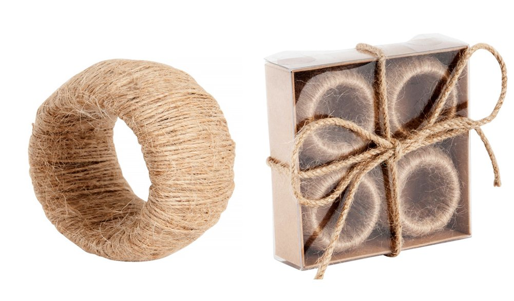 Decorate with Jute Classic Design Napkin Rings, Set of 4 (natural)