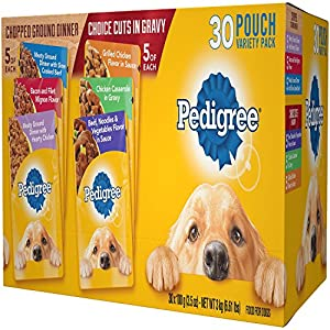 Pedigree Chopped Ground Dinner & Choice CUTS in Gravy Adult Wet Dog Food Variety Pack, (30) 3.5 oz. Pouches