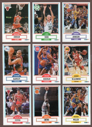 1990 / 1991 Fleer Basketball Series Complete Mint Hand Collated 198 Card Set Including Michael Jordan, Larry Bird, Kevin Mchale, Robert Parish, Dennis Rodman, Scottie Pippen, Akeem Olajuwon, Reggie Miller, Magic Johnson, Patrick Ewing, Charles Barkley, Clyde Drexler, Danny Ainge, David Robinson, Shawn Kemp, Karl Malone, John Stockton and Others! - Michael Jordan Set