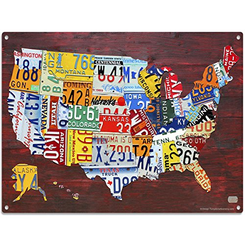 USA License Plate Map Full Metal Sign Travel Decor 16 x - License Map Plate