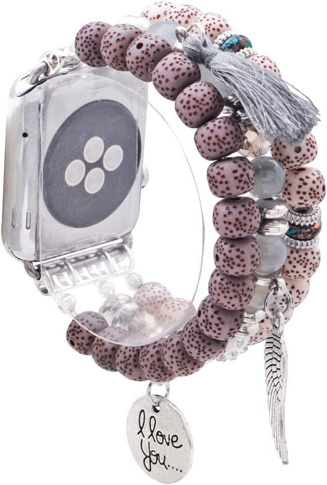 KAI Top Compatible for Apple Watch Band 38mm 40mm 42mm 44mm Women iWatch Band Series 5 4 3 2 1, Unique Stretch Bohemian Beaded Bracelet Bands Tassel Wing Pentant Replacement Strap for Women Girls