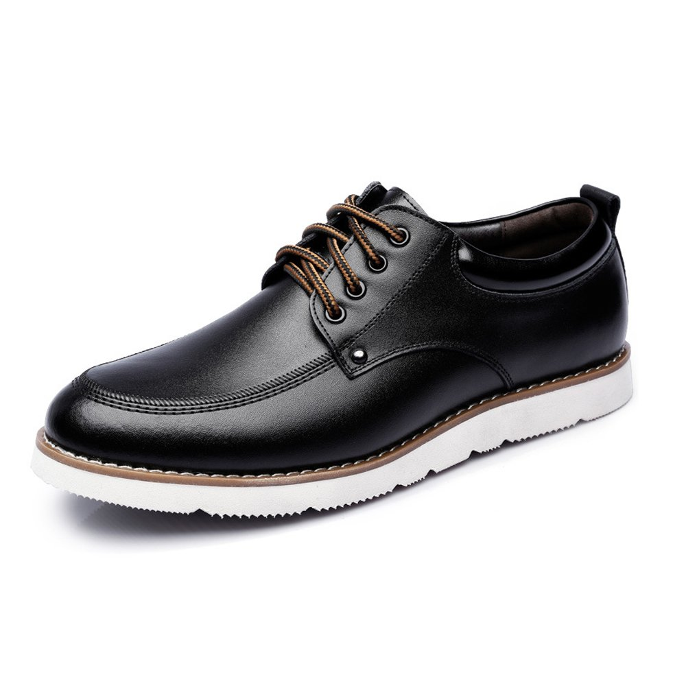 Battle Men Men's Lace Up Loafers PU Leather Casual Business Soft Flats Sole Oxfords Fashion (Color : Black, Size : 7 MUS)