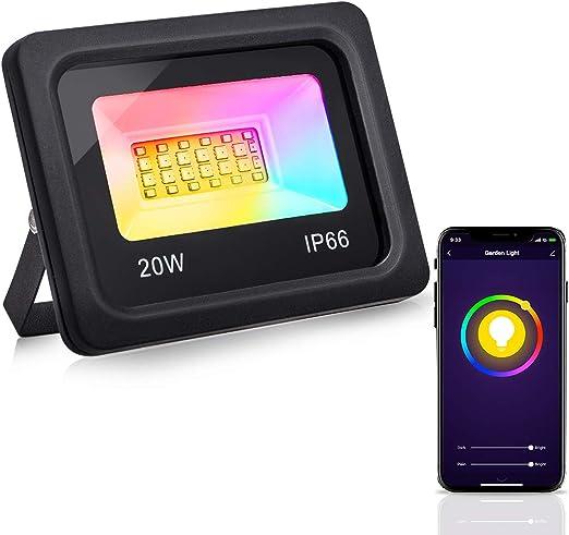 LOHAS - Foco proyector WiFi RGB para exteriores (IP66, resistente ...