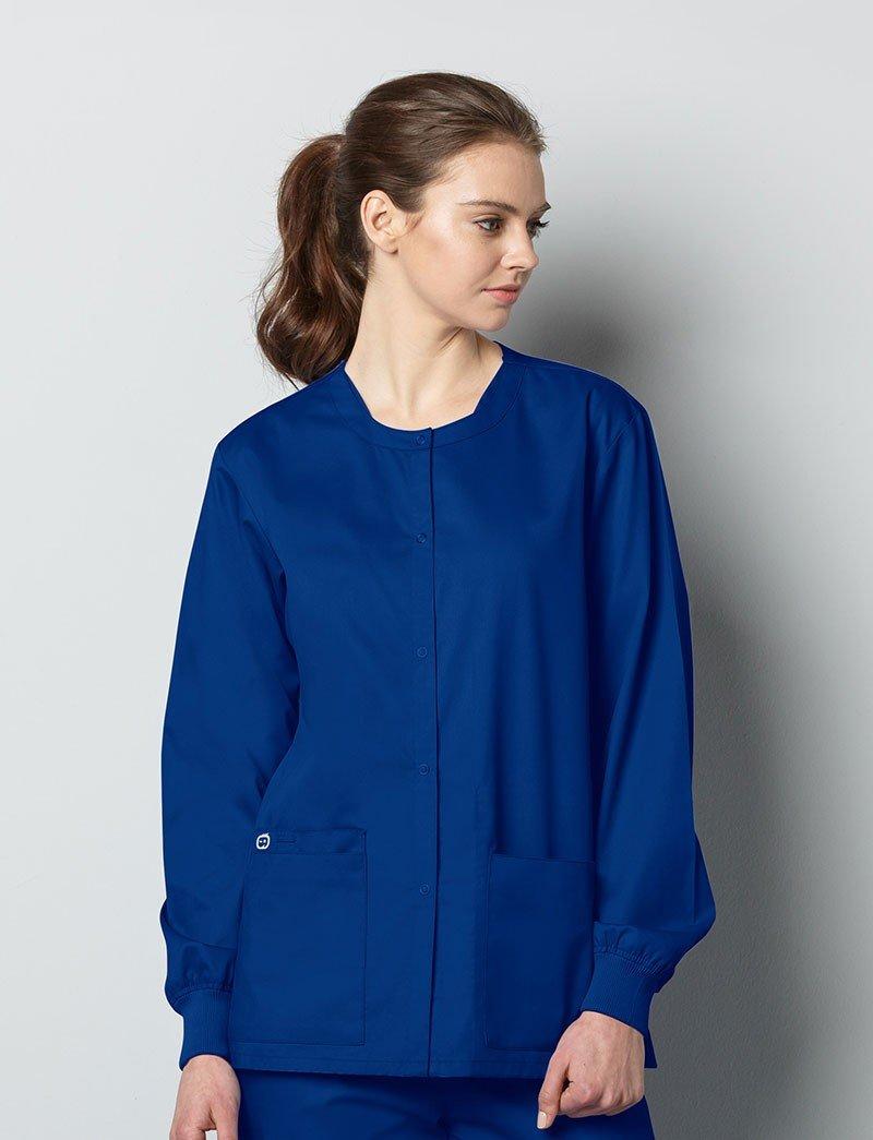 WonderWink Unisex-Adults Plus Size Snap Front Jacket, Galaxy Blue, 2X-Large