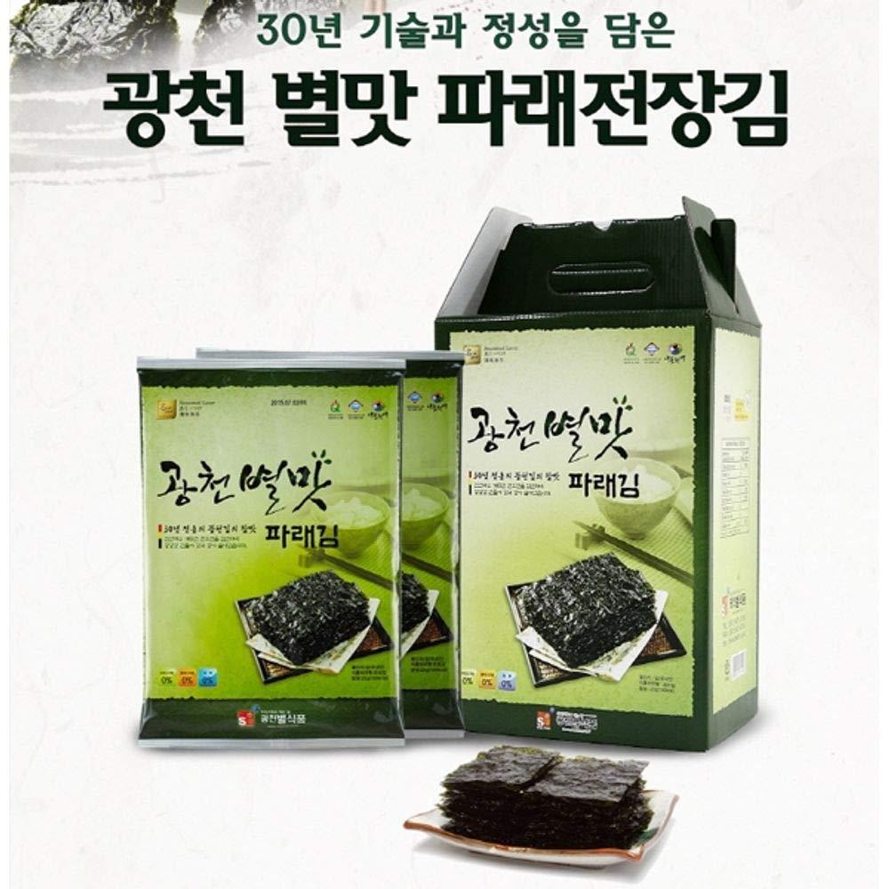 Gwangcheon Green Laver Seaweed Whole Size 20g x 10 packs, Product of Korea
