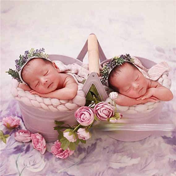 Twins Flower Basket-Pink Sharely Sheep Iron Flower Basket Newborn Twins Photography Props Baby Boy Girl Photoshoot Studio Posing Floral Basket