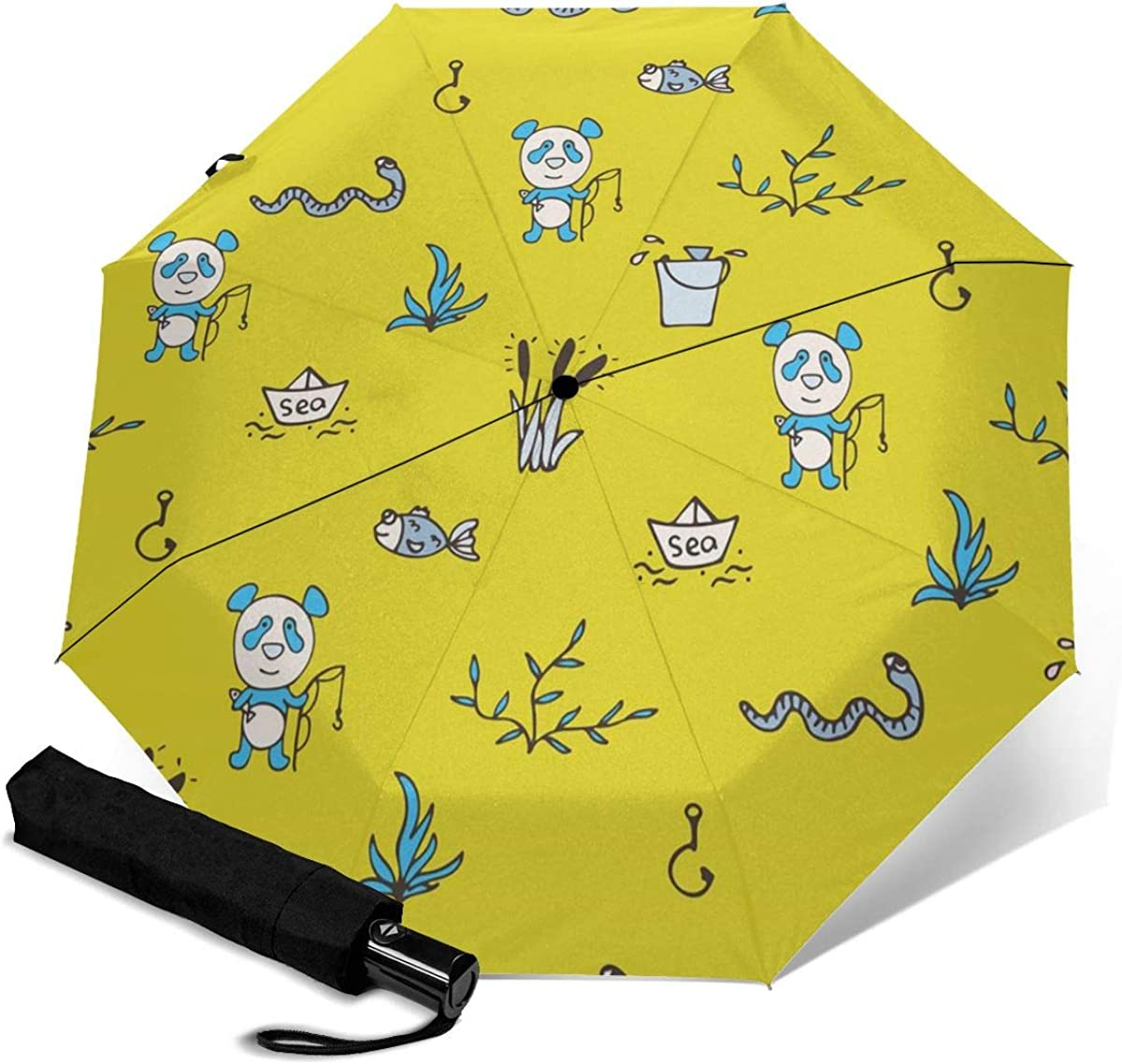 Goldfish Bear And Snake Compact Travel Umbrella Windproof Reinforced Canopy 8 Ribs Umbrella Auto Open And Close Button Personalized