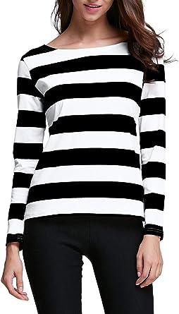 DIRASS Women's Long Sleeves Cotton Striped Relax Fit Halloween Tee Shirts