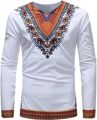 Tops Hombre Otoño Invierno Guapo Impreso Festiva Africano Ropa Folk Personalizado Cuello En V Manga Larga Dashiki Camisa Básica Blusa: Amazon.es: Ropa y accesorios