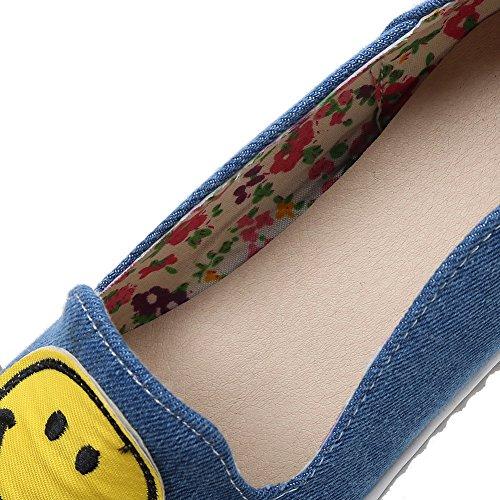 Microfibra Tacón Mujeres Puntera Zapatos Liso Cerrada Azul Tacón De Gmxdb006707 Agoolar Bajo nX4wHqXc