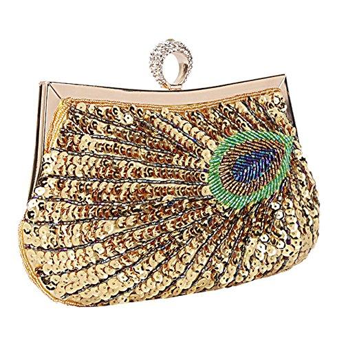 Clutches Bolsa de Pavo Real, Yimidear Mujeres Lentejuelas Rebordeado Bolsa de Hombro Bolso de Noche Boda Fiesta Sarao Bolso de Mano dorado