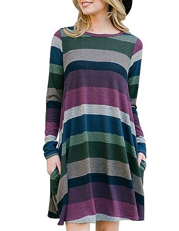 c5958fee1676 Amazon.com  Women s Long Sleeve Striped Tunic Tops For Leggings ...