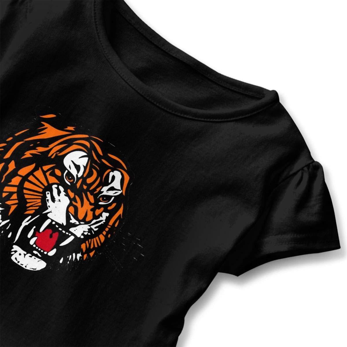 Princeton Tigers Shirt Cartoon Infant Girl Flounced T Shirts Graphic T-Shirt for 2-6T Kids Girls