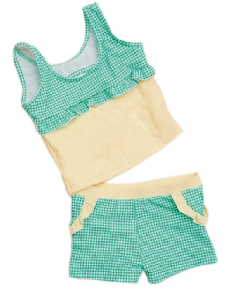 2 Pieces Swimsuit Bathing Suit Tank Aqua Tartan, Girl, 100-120CM, 6-10 Years Old PANDA SUPERSTORE PS-SPO2420250011-CHILLY00144