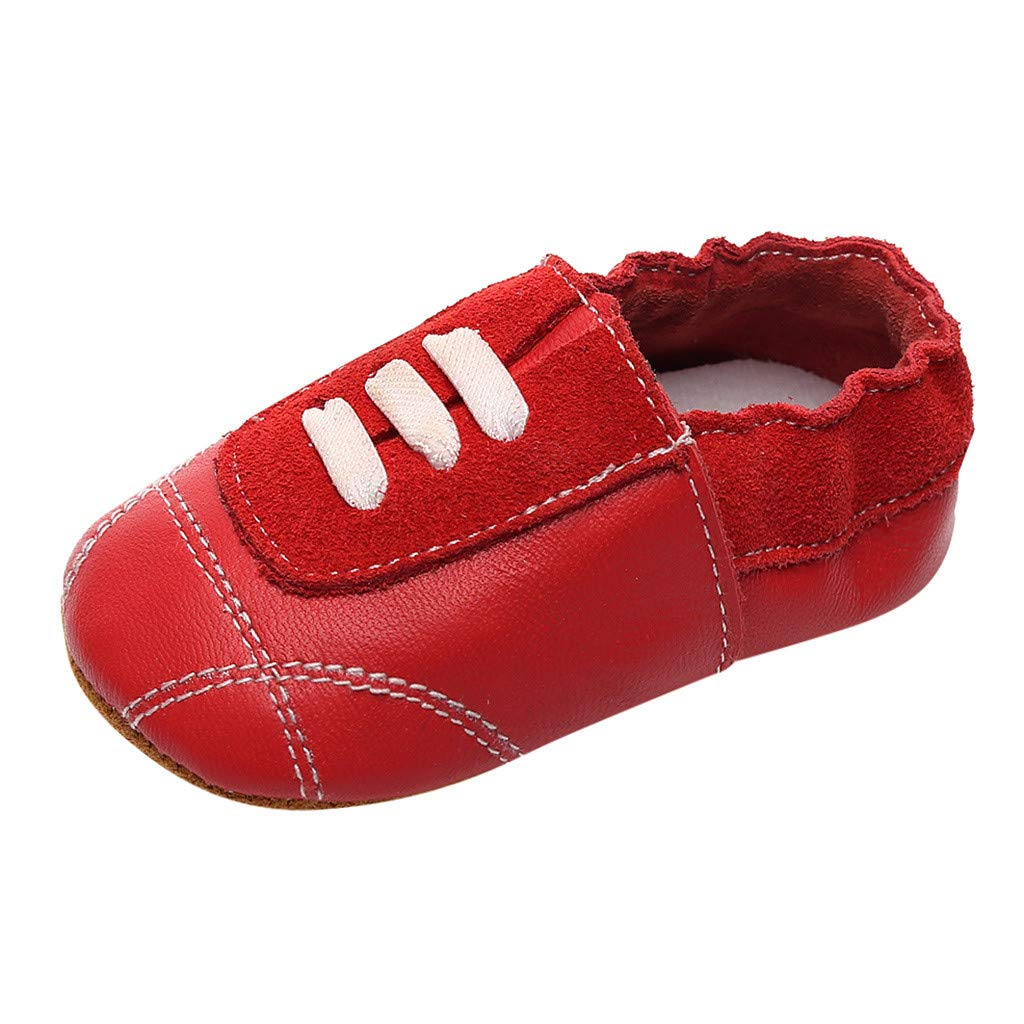 NUWFOR Infant Baby Girl Beach Leather Rome Straps Sole Summer Sandal First Walker Shoes(Red,0-6Months)