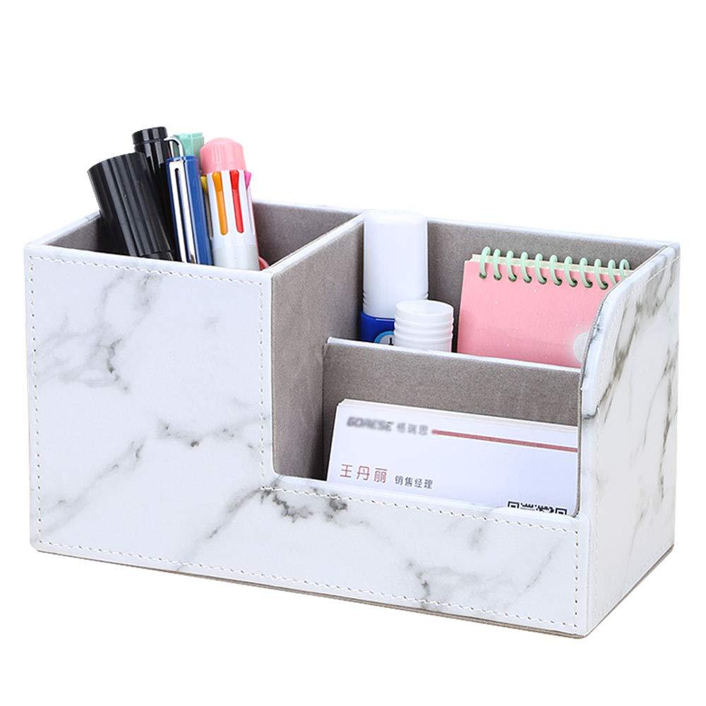 KINGFOM PU Leather Desk Organizer Pen Pencil Holder Business Name Cards Remote Control Holder