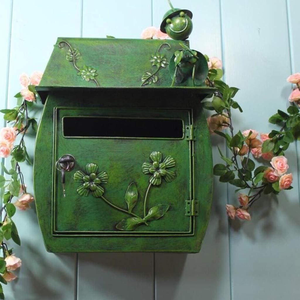 CS グリーン防水屋外の郵便箱ヨーロッパの古典的なヴィラのメールボックス牧歌的なヴィンテージウォールロックレターボックスのメールボックス   B07J3C3Q8R