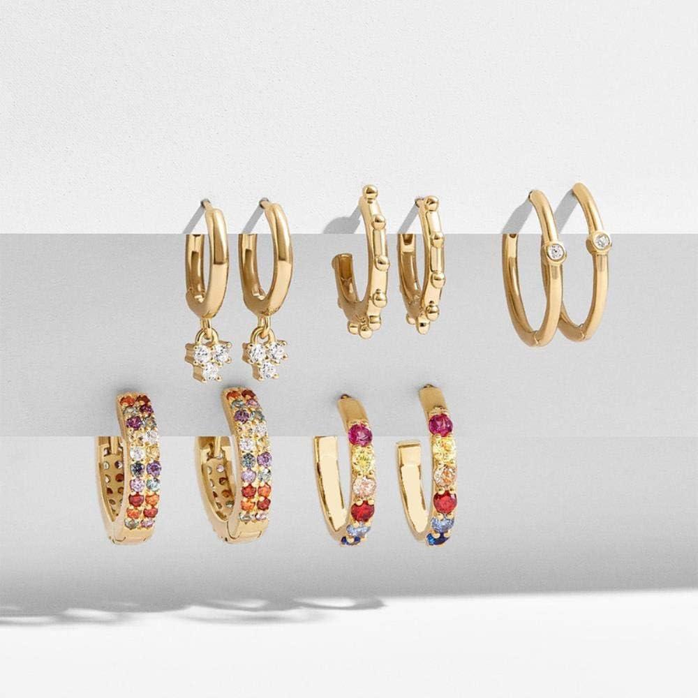 ZNYH Pendientes de aretes de aleación de Diamantes de Piedras Preciosas de Colores Set 5 Pares