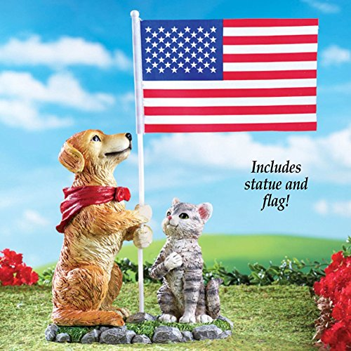 Dog and Cat Holding American Flag Garden Decor Sculpture Figurine Statue 4th of July USA Yard - American Holding Flag