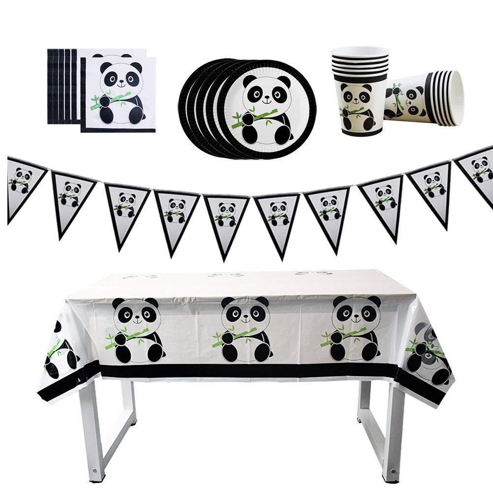 Toyvian Pennant Banner Panda Papel Plato Plato Taza pa/ñuelo desechable vajilla Suministros de Fiesta de cumplea/ños