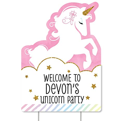 558e1005c23 Amazon.com  Big Dot of Happiness Custom Rainbow Unicorn - Party Decorations  - Magical Unicorn Baby Shower or Birthday Party Personalized Welcome Yard  Sign  ...
