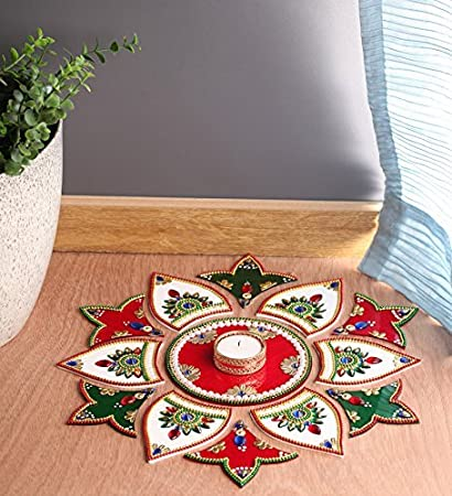 Itiha White Red Green 13 Pieces Rangoli Indian Decor for Wall Decoration,  Floor Decoration & Table Decoration for Diwali & Christmas with Tea Light  ...