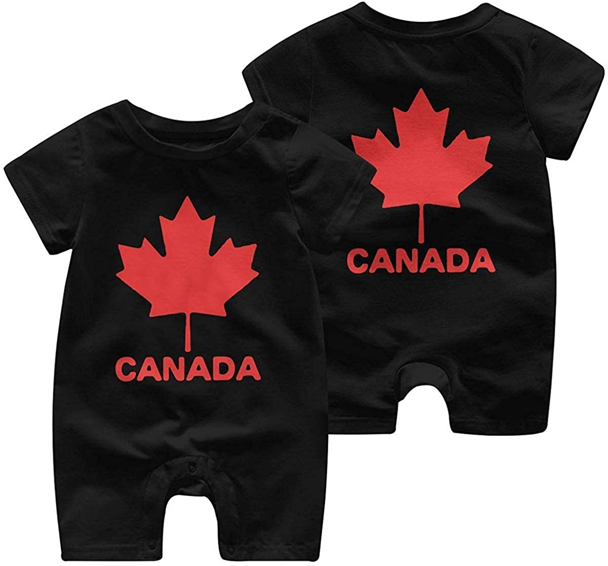 chenbiaoku Canadian Flag Canada Maple Leaf Newborn Baby Short Sleeve Romper Jumpsuit Coverall 0-24 Months