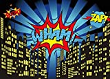 Qian 5x3FT Photography Backdrops Superhero City Theme Photo Booth Birthday Party Decoration Supplies Background Studio Prop Vinyl Cloth ly023