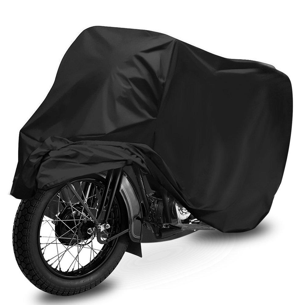 Telo Coprimoto Impermeabile, opamoo Teli per moto antipolvere Anti UV Esterni Moto Parapioggia Anti vento Coprisella per Moto Motorino Parapioggia, con Sacca per il Trasporto - 245x105x125cm, Nero