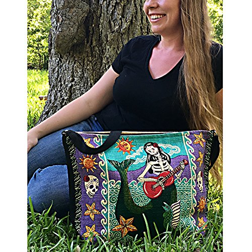 SpiritStar Sugar Skull Purse: Day of the Dead Inspired Daily Travel Bag Made with 100% Washable Cotton (Mermaid) by Spirit Quest Supplies (Image #1)