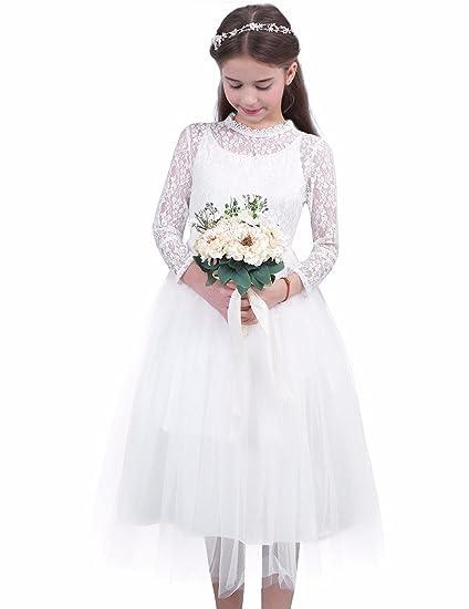 88d32a3a3 TiaoBug Girls Lace Mesh Long Sleeves Flower Girl Dress Princess ...