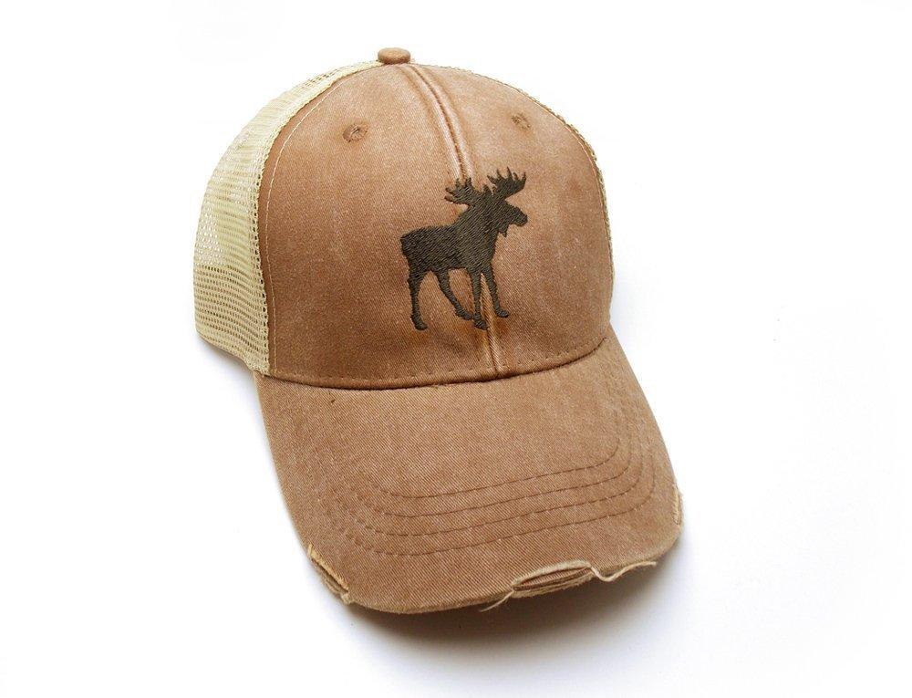 Trucker Hat - Moose Silhouette - Men's Distressed Mesh Backed Hat