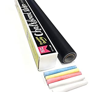 Chalkboard Contact Paper 9 Foot roll (108 inches) + (5) Color Chalk Included - by Simple Shapes