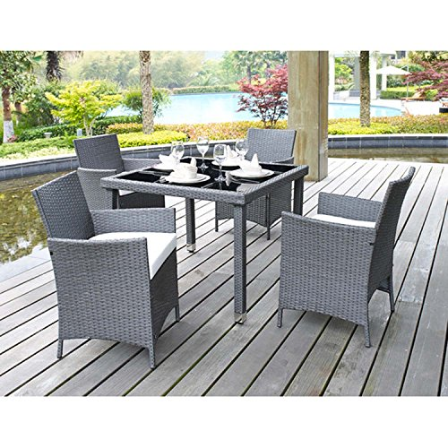 5 Piece Outdoor Patio Dining Set with White Cushions – UV Weather Resistant Rattan Wicker & Heavy Duty Steel Powder Coated Furniture – Rectangular Table with Umbrella Hole – Seat for 4 – Grey Finish (Powder Coated Outdoor Furniture)
