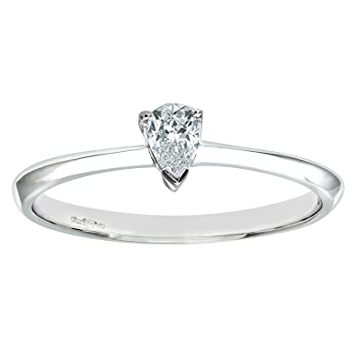 Naava Womens 9 Ct White Gold Diamond Solitaire Engagement Ring With Pear Cut