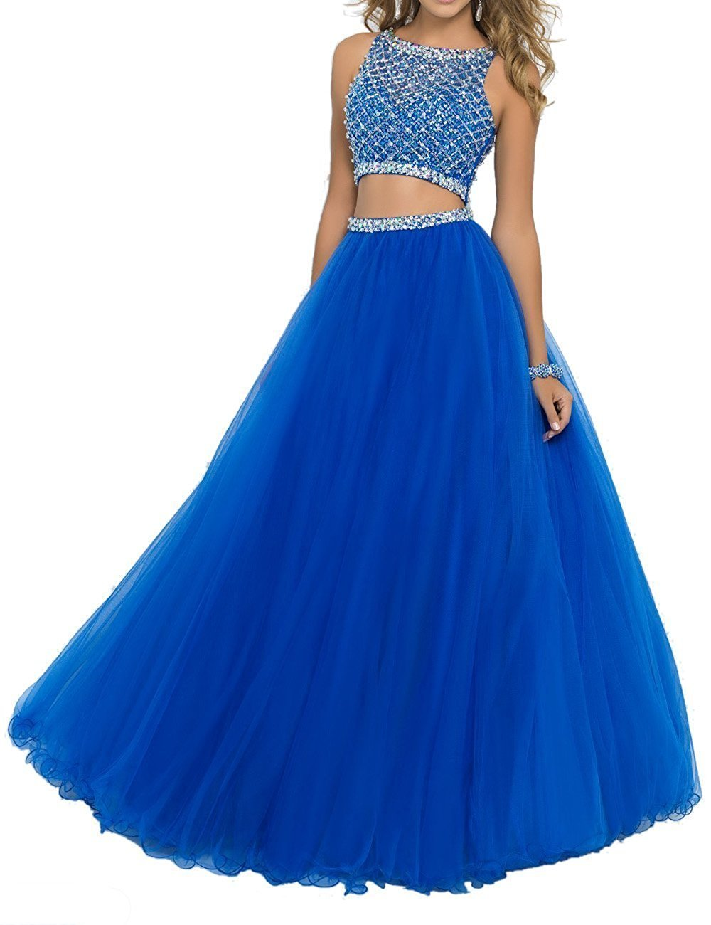 SeasonMall Women's Prom Dress Two Pieces Bateau Beaded Bodice Tulle Dresses Size 0 US Royal Blue